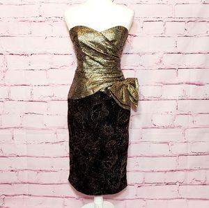 A.j. Bari Vintage Gold Strapless Dress